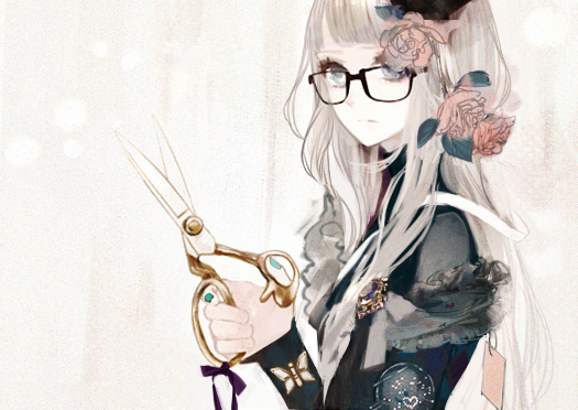 Tags: Anime, Eiri, Brooch, Scissors, Aqua Nails, Purple Ribbon