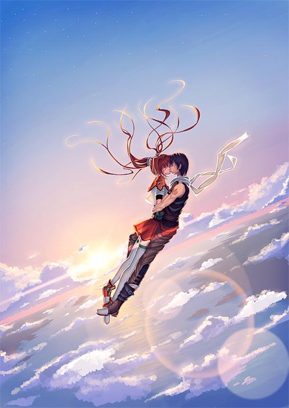 Tags: Anime, Chari, Eiyuu Densetsu VI: Sora no Kiseki, Joshua Astray, Estelle Bright, Pixiv, Fanart, The Legend Of Heroes: Trails In The Sky