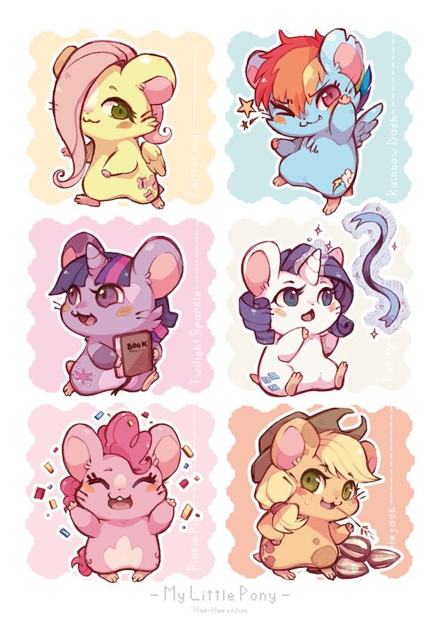 Tags: Anime, Xxmioxx, My Little Pony, Fluttershy, Twilight Sparkle, Rarity, Rainbow Dash, Pinkie Pie, Applejack, Sunflower Seeds, Hamster, Cutie Mark, Mark