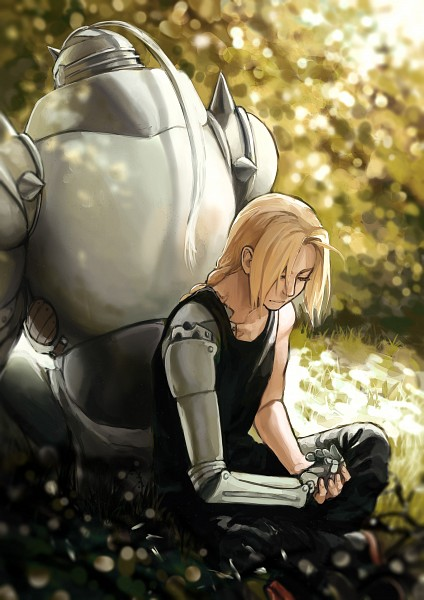 Tags: Anime, Pixiv Id 4680136, Fullmetal Alchemist, Edward Elric, Alphonse Elric, Prosthesis, Back to Back