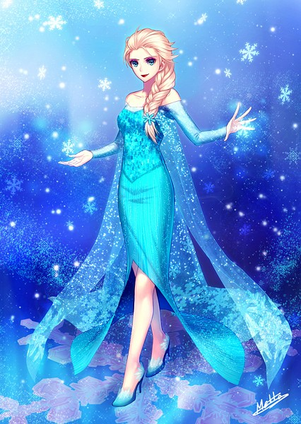 Tags: Anime, Snowflakes, Lipstick, Blue Dress, Red Lips, Frozen (Disney), Elsa the Snow Queen