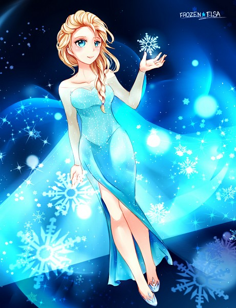 Tags: Anime, Snowflakes, Blue Dress, Disney, Frozen (Disney), Elsa the Snow Queen, Pixiv Id 6553873