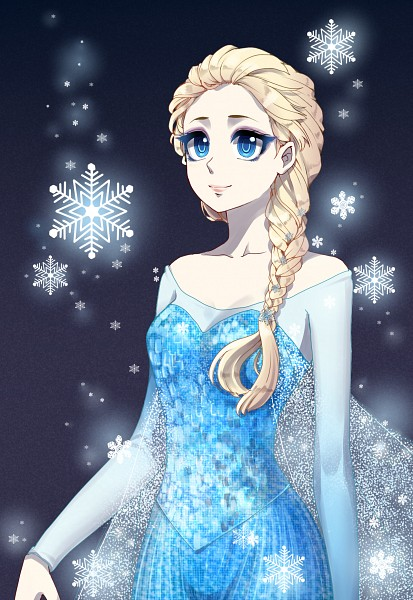 Tags: Anime, Snowflakes, Lipstick, Blue Dress, Looking Up, Disney, Pink Lips