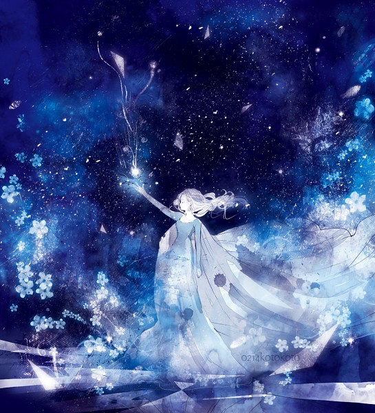 Tags: Anime, Blue Dress, Koto Koto, Disney, Floating Hair, Text: Mangaka Name, Frozen (Disney)