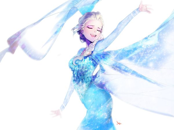 Tags: Anime, Sparkles, Blue Dress, Disney, ZIS, One Arm Up, Frozen (Disney)