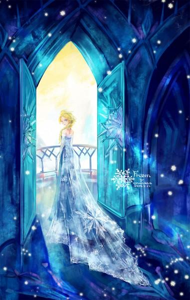Tags: Anime, Blue Dress, Looking Back, Disney, 77 (Artist), Open Door, Frozen (Disney)