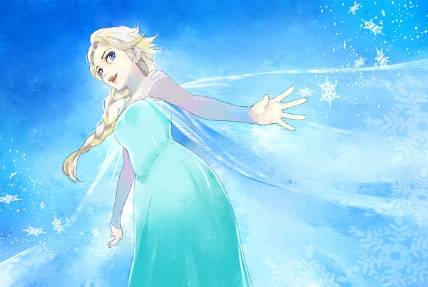 Tags: Anime, Snowflakes, Blue Background, From Below, Blue Dress, Disney, Habuki