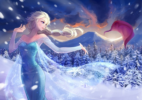 Tags: Anime, Forest, Winter, Snowing, Mountains, Nature, Blue Dress