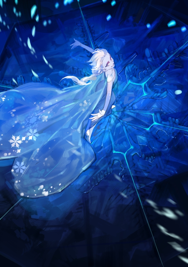 Tags: Anime, Blue, Dancing, Snowflakes, Blue Dress, Unnaturally White Skin, Disney