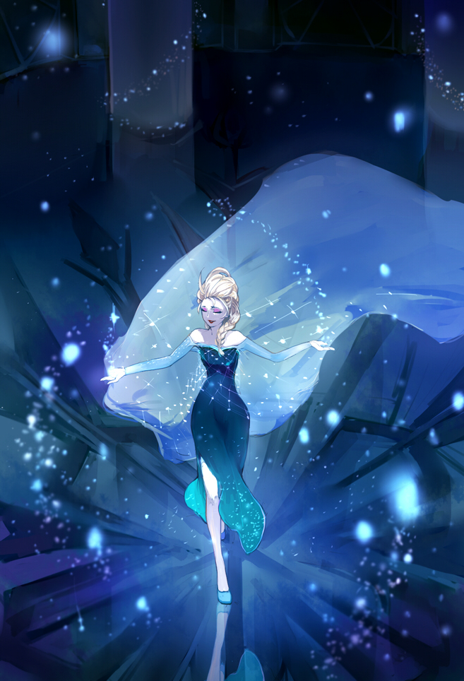 Tags: Anime, Snowflakes, Aerial View, Blue Dress, Walking, Pixiv Id 2171620, Frozen (Disney)