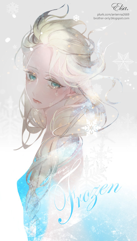 Tags: Anime, Sad, Snowflakes, Blue Dress, Disney, Antenna2669, Frozen (Disney)