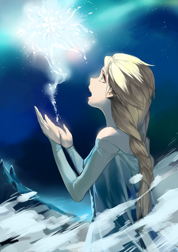 Tags: Anime, Snowflakes, Blue Dress, Looking Up, Disney, Blue Sky, Night Sky