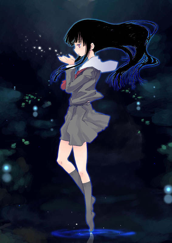 Tags: Anime, Jigoku Shoujo, Enma Ai, Blowing, Mobile Wallpaper