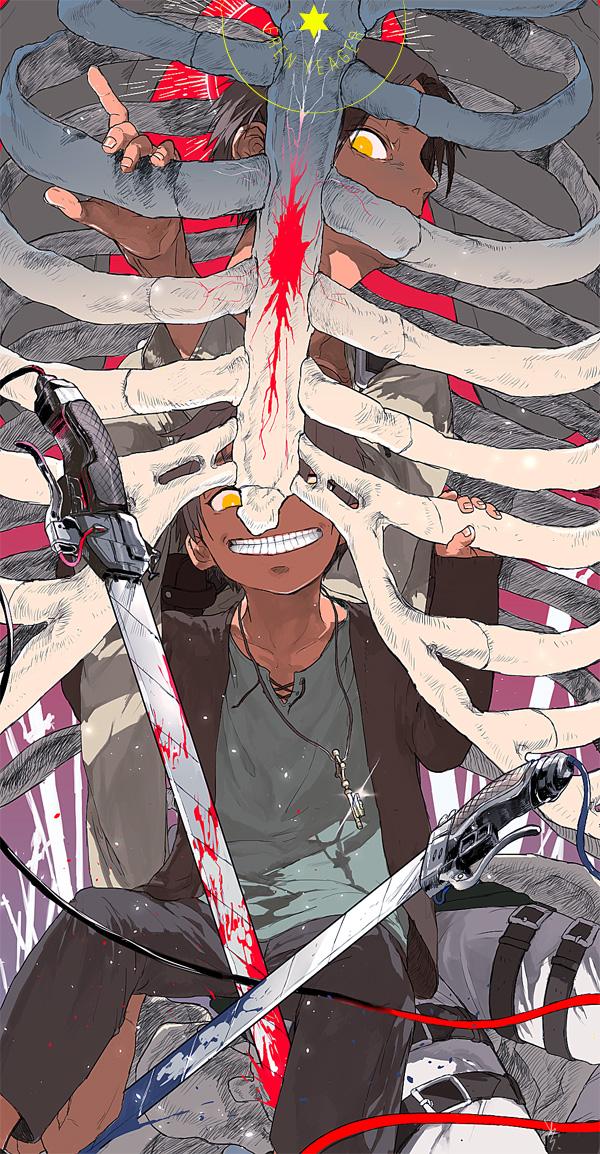 Tags: Anime, Me*La (Artist), Attack on Titan, Eren Jaeger, Ribs, Creepy Smile, Eren Yeager