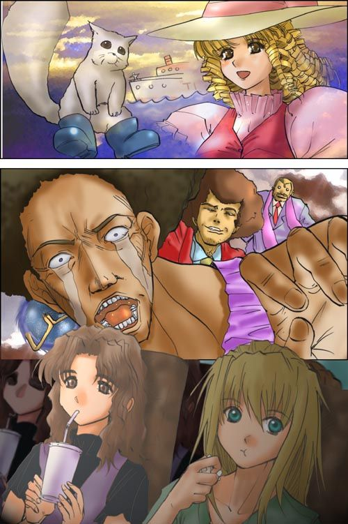 Tags: Anime, Excel♥Saga, Excel, Menchi, Hyatt, Pedro