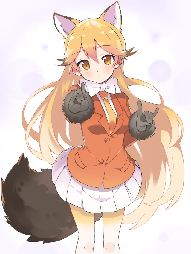 Tags: Anime, Rassu, Kemono Friends, Ezo Red Fox (Kemono Friends), Fox Handsign, Mobile Wallpaper, Fanart