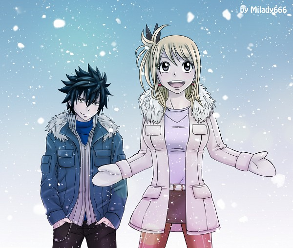 Tags: Anime, Milady666, FAIRY TAIL, Lucy Heartfilia, Gray Fullbuster, Mittens, Winter