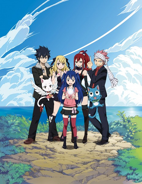 Tags: Anime, FAIRY TAIL, Gray Fullbuster, Natsu Dragneel, Happy (FAIRY TAIL), Erza Scarlet, Wendy Marvell