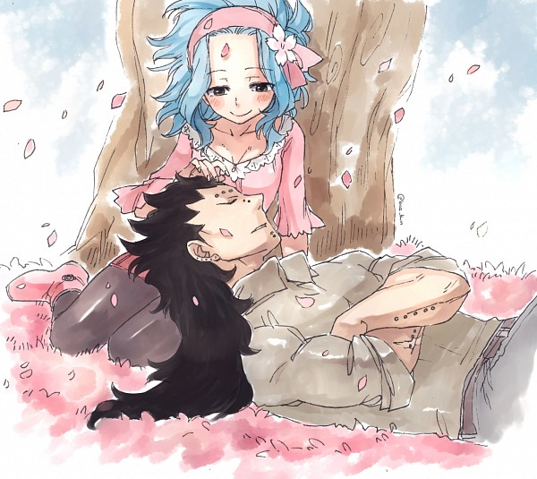 Tags: Anime, Rusky-boz, FAIRY TAIL, Levy McGarden, Gajeel Redfox, Text: Mangaka Name, Laying on Back