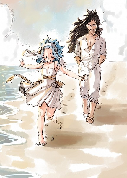 Tags: Anime, Rusky-boz, FAIRY TAIL, Gajeel Redfox, Levy McGarden, Hand In Pocket, Outdoors