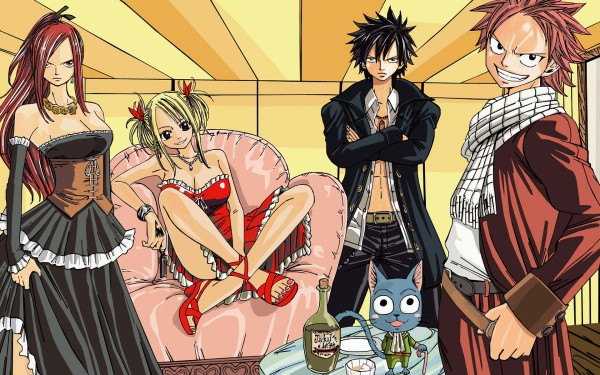 Tags: Anime, FAIRY TAIL, Gray Fullbuster, Natsu Dragneel, Erza Scarlet, Lucy Heartfilia, 1920x1200 Wallpaper