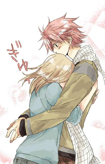 Tags: Anime, Alina-chan, FAIRY TAIL, Lucy Heartfilia, Natsu Dragneel, Surprise Hug, Fanart, deviantART, Mobile Wallpaper, NaLu