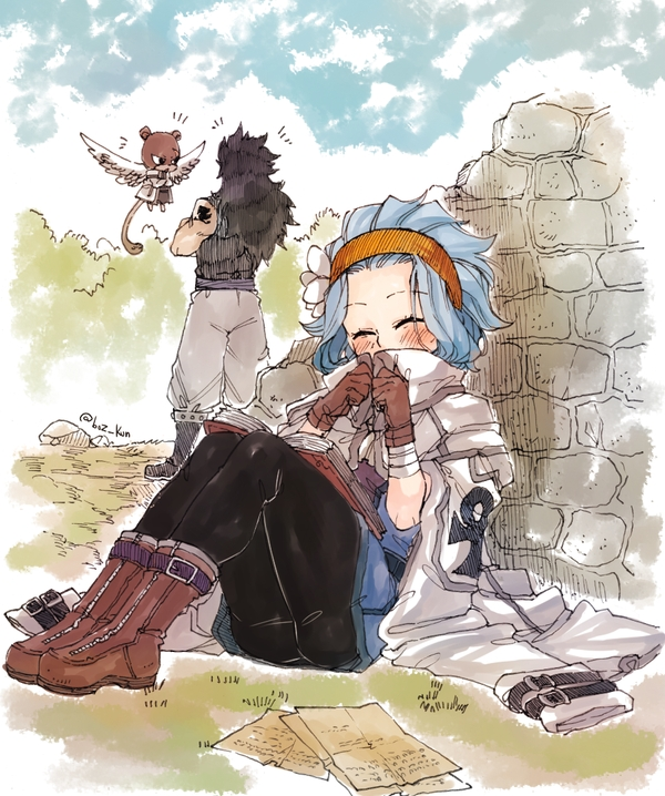 Tags: Anime, Rusky-boz, FAIRY TAIL, Levy McGarden, Gajeel Redfox, Character Reference, Borrowed Clothes