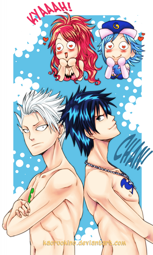 Tags: Anime, FAIRY TAIL, Sherry Blendy, Gray Fullbuster, Lyon Bastia, Juvia Loxar, Chest, deviantART, Mobile Wallpaper