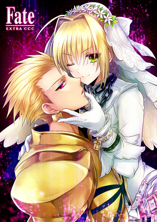 Tags: Anime, Uka (Color Noise), Fate/EXTRA CCC, Fate/EXTRA, Saber (Fate/EXTRA), Saber Bride, Gilgamesh, Padlock, Pixiv, Fanart, Mobile Wallpaper