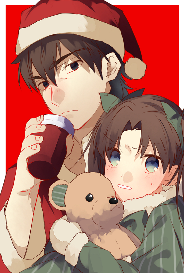 Tags: Anime, Kuribeni, Fate/Grand Order, Kotomine Kirei, Tohsaka Rin, March of the Saints, Mobile Wallpaper, PNG Conversion