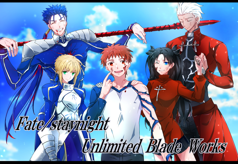 Tags: Fate/stay night, Saber (Fate/stay night), Archer (Fate/stay night), Emiya Shirou, Lancer (Fate/stay night), Tohsaka Rin, Pixiv Id 743604, Fate/stay night: Unlimited Blade Works