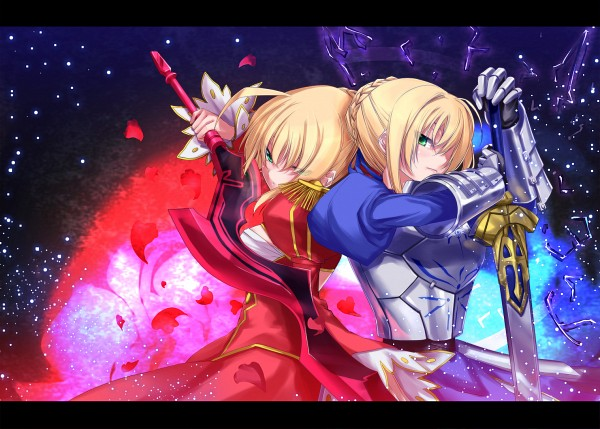 Tags: Anime, Red Dress, Fate/stay night, Saber, TYPE-MOON, Fight Stance, Blue Dress