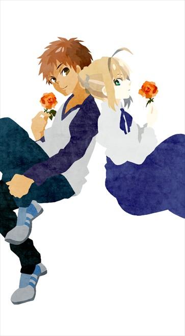 Tags: Anime, Kuroihato, Fate/stay night, Emiya Shirou, Saber (Fate/stay night), Mobile Wallpaper, Fanart From Pixiv, Fanart, Pixiv