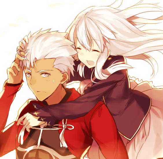 Tags: Anime, Shima Shinoji, Fate/stay night, Illyasviel von Einzbern, Archer (Fate/stay night), PNG Conversion