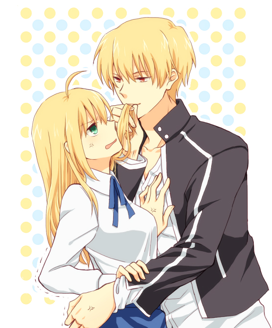 Tags: Anime, Pixiv Id 1540641, Fate/stay night, Gilgamesh, Saber (Fate/stay night), PNG Conversion, Fanart, Pixiv