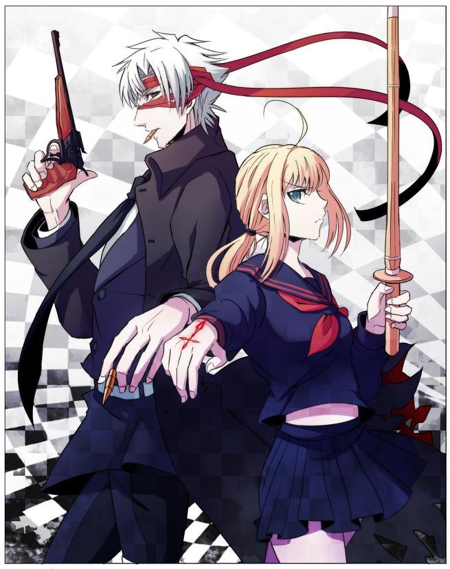 Tags: Anime, yukihime, TYPE-MOON, Fate/zero, Capsule Servant, Saber (Fate/stay night), Master Artoria, Emiya Kiritsugu, Command Seal, Fanart From Pixiv, Fanart, Pixiv