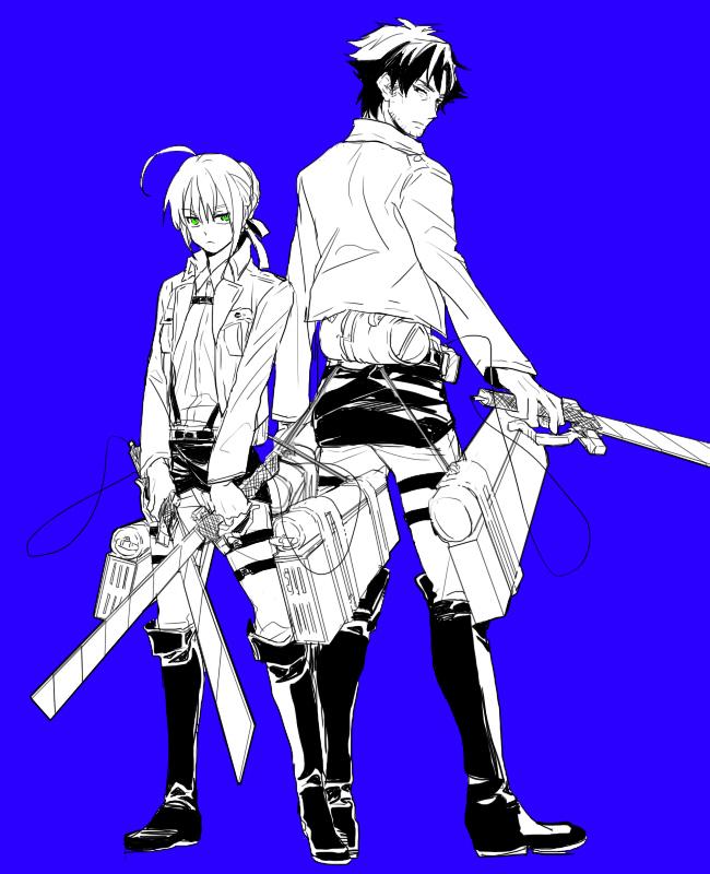 Tags: Anime, Pixiv Id 3985833, TYPE-MOON, Fate/zero, Fate/stay night, Emiya Kiritsugu, Saber (Fate/stay night), Shingeki no Kyojin (Cosplay), Fanart, Pixiv, Fanart From Pixiv
