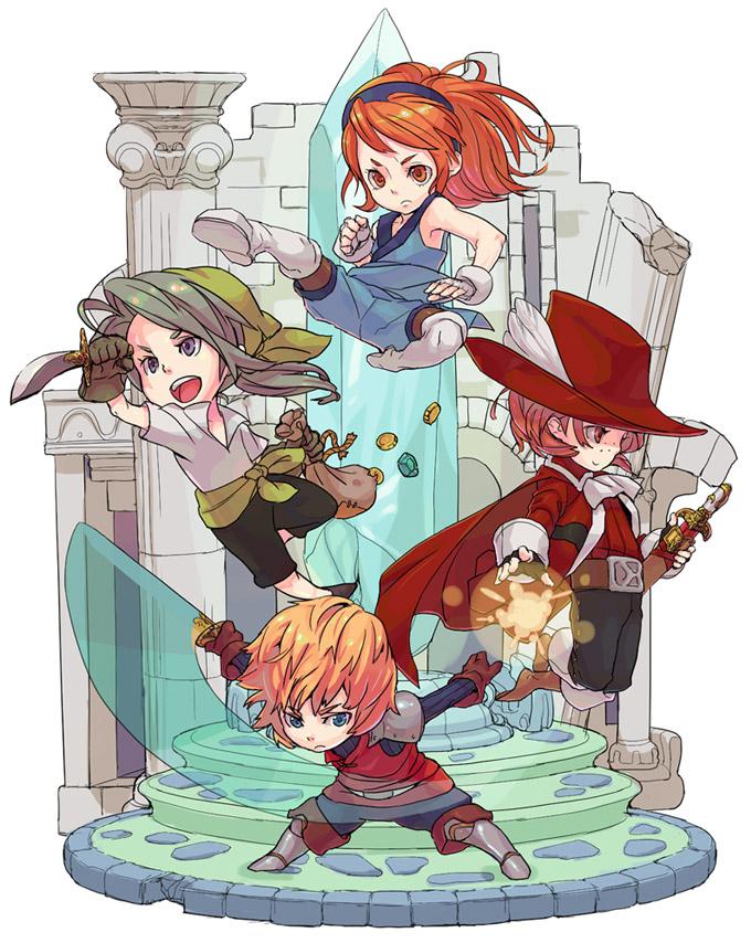 Tags: Anime, Final Fantasy III, Refia, Luneth, Onion Knight, Ingus, Arc (FF3), Thief, Red Mage