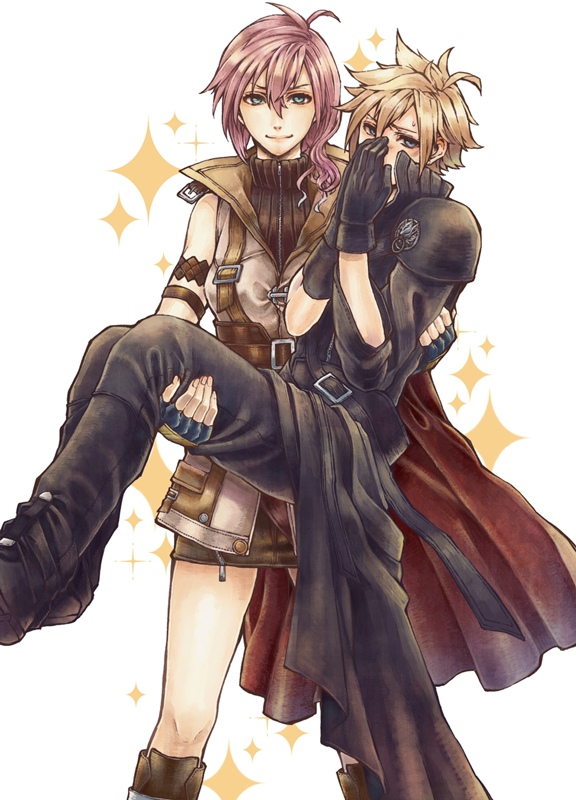 Tags: Anime, Pixiv Id 130413, SQUARE ENIX, Final Fantasy XIII, Final Fantasy VII, Lightning Farron, Cloud Strife, Fanart From Pixiv, Pixiv, Fanart, Mobile Wallpaper