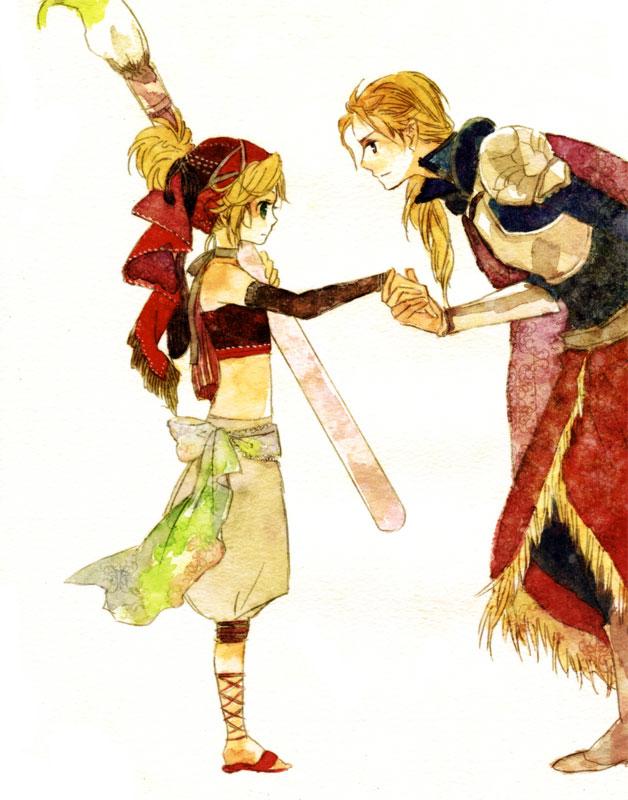 Tags: Anime, Enuenu Natsumi, SQUARE ENIX, Final Fantasy VI, Edgar Roni Figaro, Relm Arrowny, Fanart, Traditional Media, Pixiv