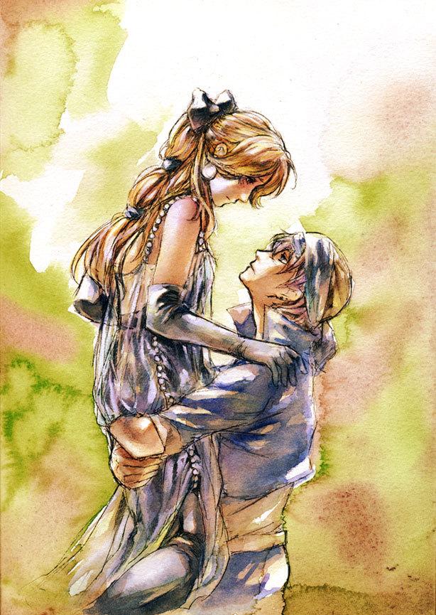 Tags: Anime, Final Fantasy VI, Celes Chere, Locke Cole, Mobile Wallpaper, Pixiv