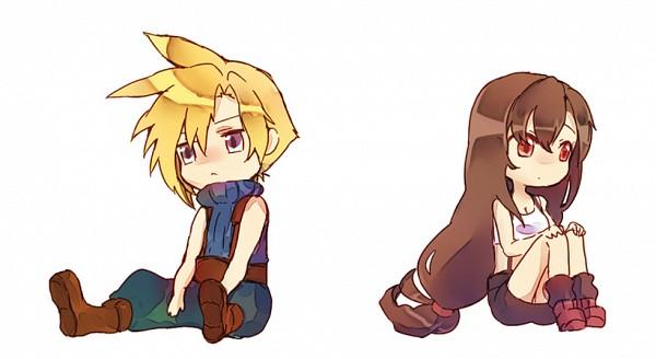 Tags: Anime, Pixiv Id 1005987, Final Fantasy VII, Tifa Lockhart, Cloud Strife, Suspenders, Hand On Knee