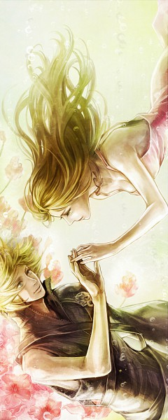Tags: Anime, Final Fantasy VII, Cloud Strife, Aerith Gainsborough, Touch, Pink Flower, Tetra Takamine