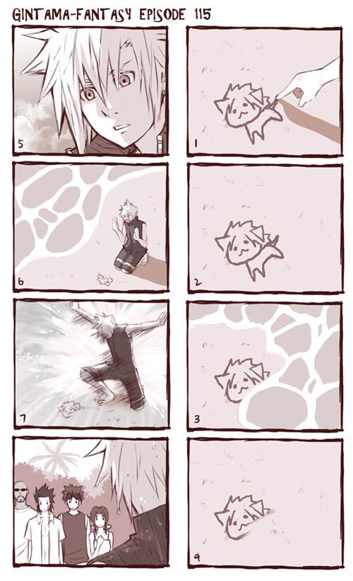 Tags: Anime, Semokan, Final Fantasy VII, Zack Fair, Aerith Gainsborough, Rude, Cloud Strife, Reno, Gintama (Parody), Waves, 4koma, deviantART, Mobile Wallpaper