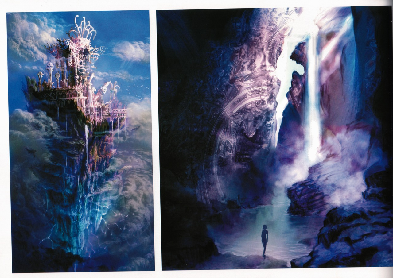 Tags Anime Final Fantasy X Waterfall Floating Castle Cave Wallpaper