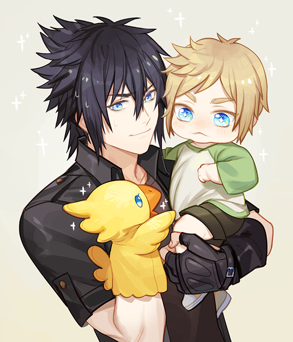 Tags: Anime, Ginmu, Final Fantasy XV, Prompto Argentum, Chocobo, Noctis Lucis Caelum, Beige Background, Fanart, Fanart From Pixiv, Pixiv, PNG Conversion