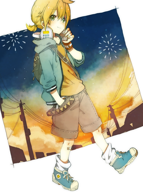 Tags: Anime, Pixiv Id 1769341, VOCALOID, Kagamine Len, Hand on Headphones, Fire◎Flower