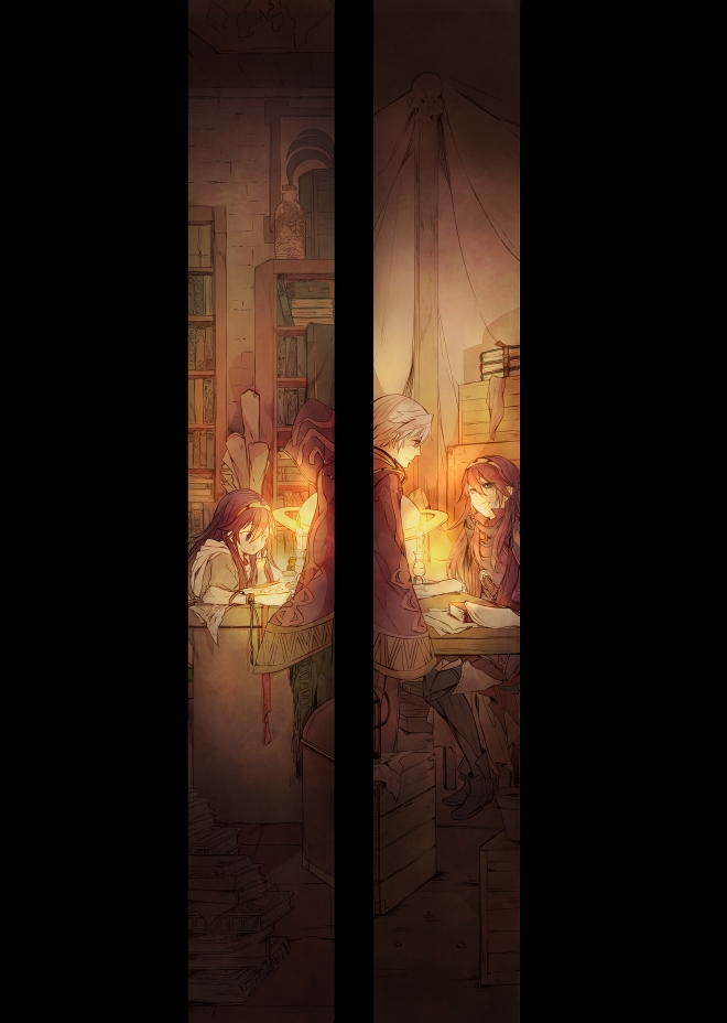 Tags: Anime, Pixiv Id 1551856, Fire Emblem: Kakusei, Lucina (Fire Emblem), Rufure (Male) (Fire Emblem), Library, Fanart, Mobile Wallpaper, Fanart From Pixiv, Pixiv, Fire Emblem: Awakening