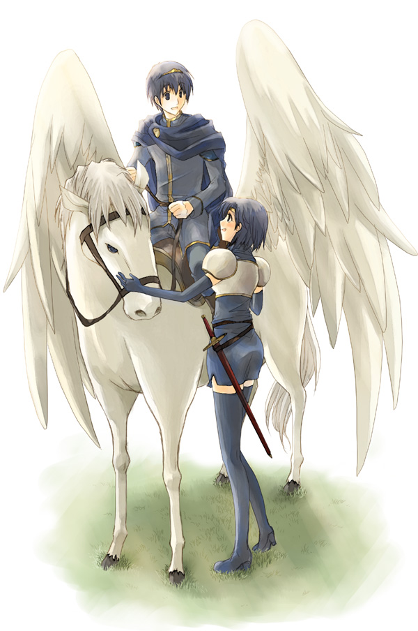 Tags: Anime, Harushino, Fire Emblem: Monshou no Nazo, Katua (Fire Emblem), Marth (Fire Emblem), Pegasus, Mobile Wallpaper, Fire Emblem Mystery Of The Emblem