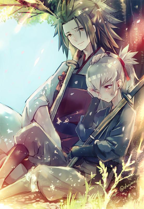 Tags: Anime, Miyuki Ruria, Fire Emblem If, Ryoma (Fire Emblem), Takumi (Fire Emblem), Shinai, Under A Tree, Twitter, Fanart, Mobile Wallpaper, PNG Conversion, Fire Emblem Fates